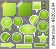 Set of green elements - stock photo