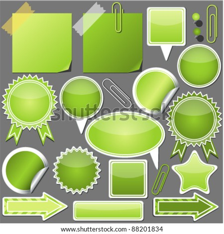 Set of green elements - stock vector