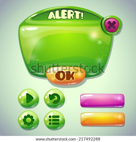 Set of green glossy information panel and buttons, beautiful sparkling elements for your game design - stock vector