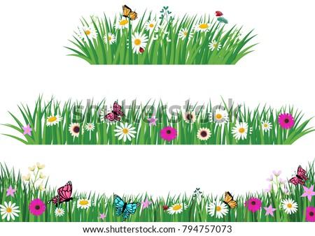 Set Green Grass Template Park Garden Stock Vector 794757073 ...