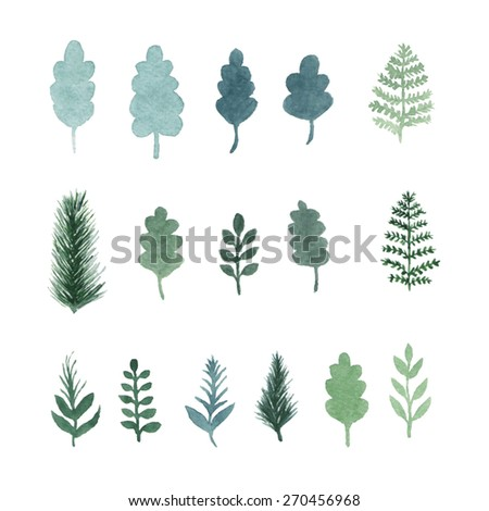 Set of green hand draw watercolor leaves, plants, herbs and tree branches. Vector isolated objects. Elements of the forest - stock vector