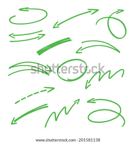 set of green hand drawn arrows signs and highlighting elements