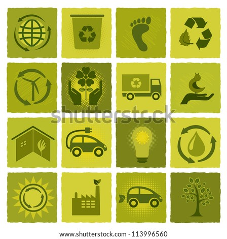 Set of 16 green icons - stock vector