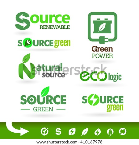 Set of green icons on the white background. Bio - Ecology - Green icon set - stock vector