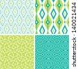 Set of green ikat diamond seamless patterns backgrounds - stock vector