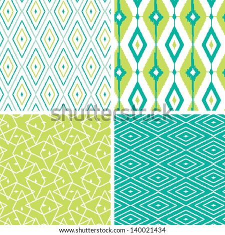 Set of green ikat diamond seamless patterns backgrounds - stock vector