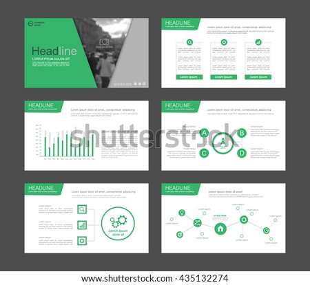 Set of green infographic elements for presentation templates. Leaflet, Annual report, book cover design. Brochure, layout, Flyer template design. - stock vector