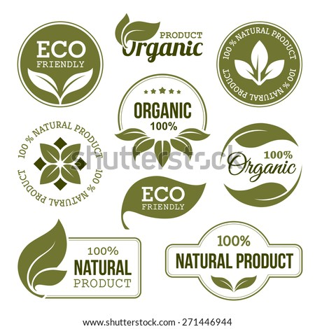 Set of green labels and badges with leaves for organic, natural, bio and eco friendly products isolated on white background