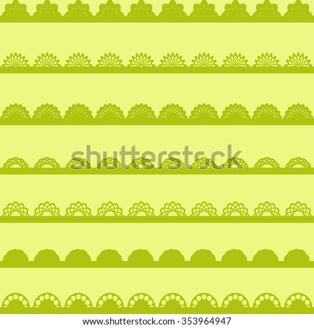 Set of green Lace Paper Punch Borders