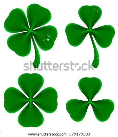 Shamrock stock images royalty free images vectors shutterstock shamrock and quatrefoil isolated on white realistic vector voltagebd Images
