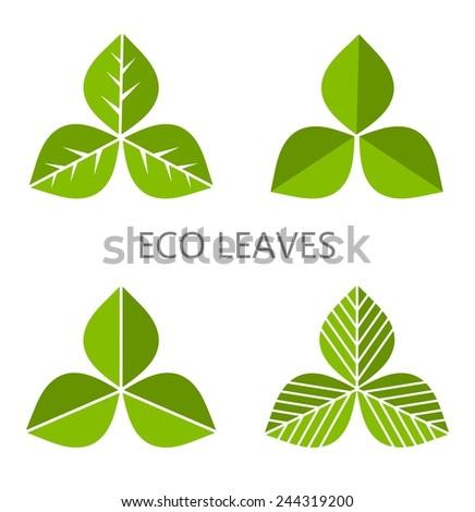 Set of green leaves. Vector illustration - stock vector