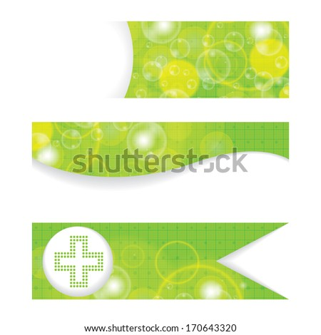 Set of green medical banners or website headers  - stock vector