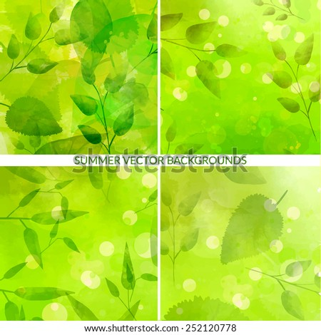 Set of green nature backgrounds with leaves and light bokehs. Fresh vector textures with watercolor effect. - stock vector