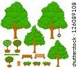 Set of green pixel trees - stock vector