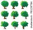 Set of green pixel trees (computer graphic(16x16 cells)). - stock vector