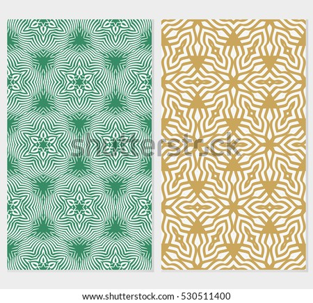 set of green, purple, beige color floral ornament. modern pattern. seamless vector illustration. for interior design, textile