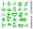 Set of green silhouette vector icons of ecology theme, including alternative energy sources, environmental issues and also conservation of natural resources and the influence of human on the planet - stock vector