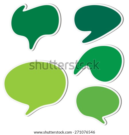 Set of green speech sticker bubbles