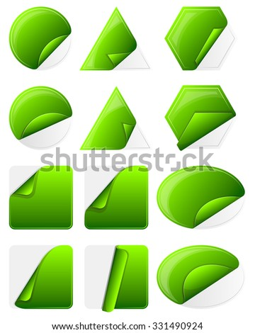 Set of 12 green sticker label of various shapes.  - stock vector