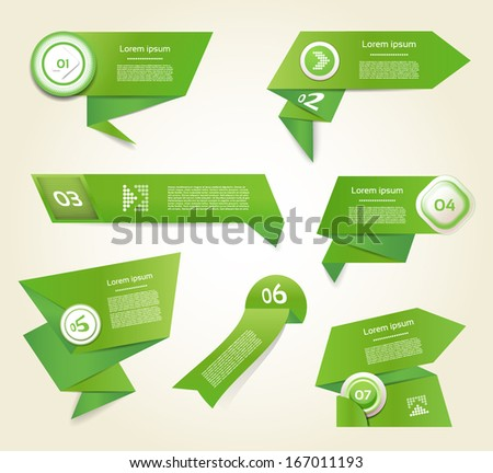 Set of green vector progress, version, step icons. eps 10