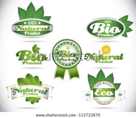 set of green vintage bio eco organic retro labels - stock vector