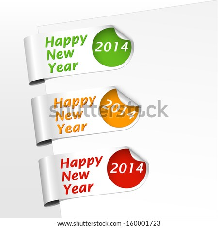 set of green, yellow,orange and red bookmarks with curled corner for celebrating of the happy new year 2014