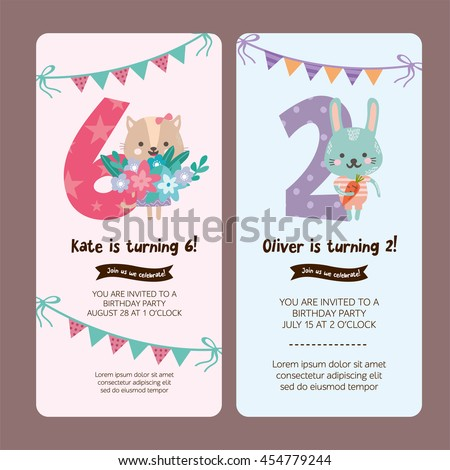 Greeting Card Design Cute Lion Rabbit Stock Vector - Birthday invitation templates for 1 year old