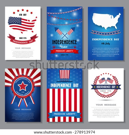 Set of greeting card ,Independent day background - stock vector