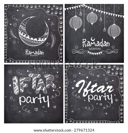 Set of greeting cards decorated with different Islamic elements in chalkboard style for holy month of Muslim community, Ramadan Kareem celebration.  - stock vector