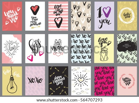 Set of greeting cards for Valentine's Day. Vector collection with brush lettering and hand written elements. Black, white, gold and pink color labels for your design and invitation.