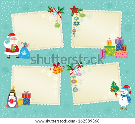 Set of greeting Christmas and New Year cards. - stock vector