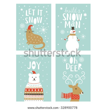 set of  Greeting Christmas card  - stock vector