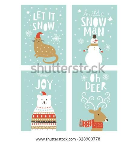 set of  Greeting Christmas card  - stock vector