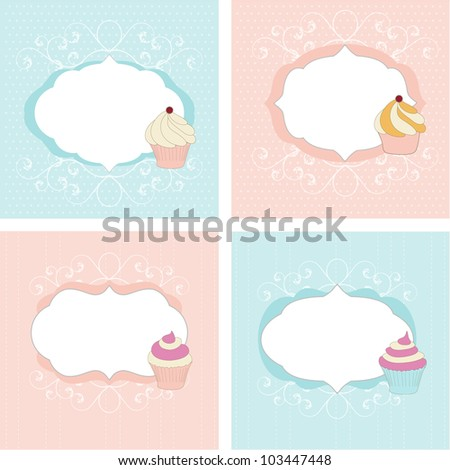 Set of greetings cards - stock vector
