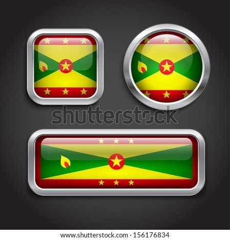 Set of Grenada  flag glass buttons - stock vector