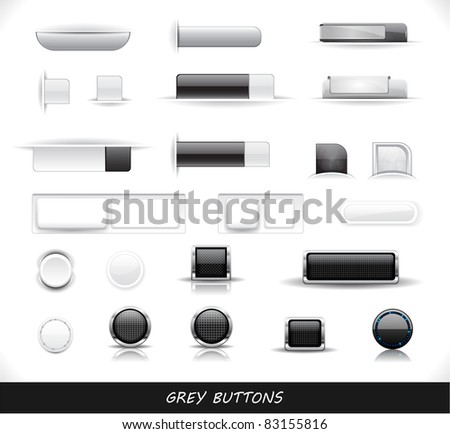 Set of grey buttons. Vector eps10  illustration. - stock vector