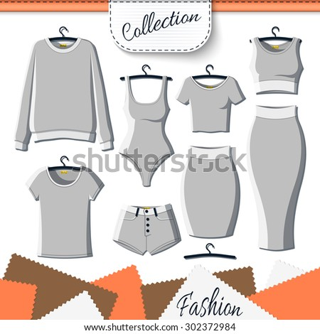 Set of grey clothes to create design on white background. Sweatshirt and T-shirt. T-shirt and shorts. Swimsuit. Suit with skirt. Template clothing. Vector mock up - stock vector