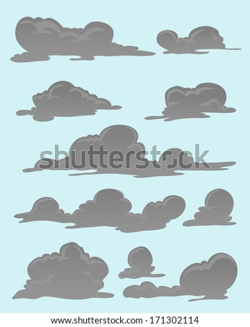 set of grey clouds - stock vector