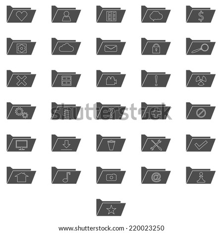 Set of grey computer folders with different signs. Information storage - stock vector