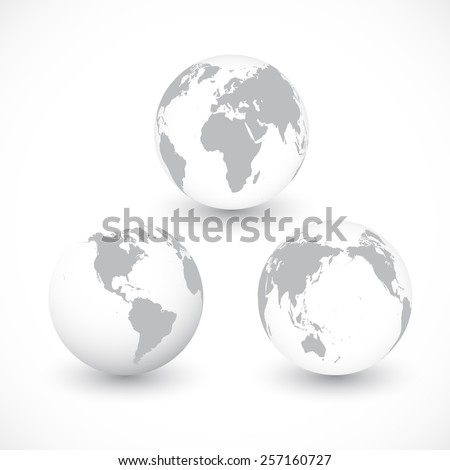Set Of Grey World Globes vector Illustration