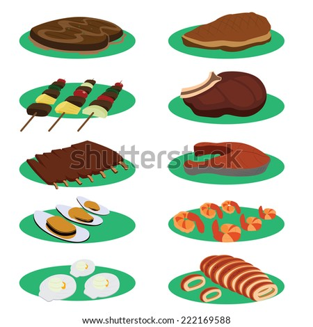 Set of Grill Steak and barbecue Cuisine Menu Vectors - stock vector