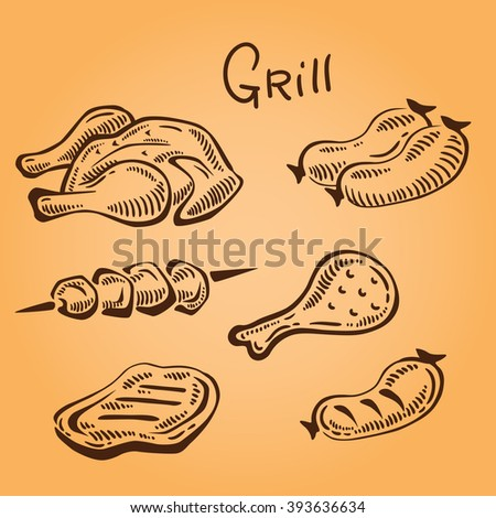 Set of grilled food. Grill objects. Food icon. Meat illustration. Retro style
