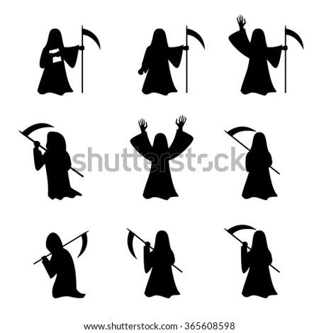 Set of Grim Reaper in silhouette style, vector  - stock vector