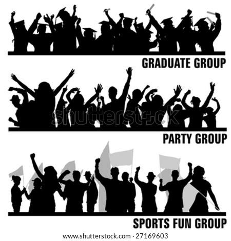 set of group peoples vector