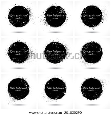 Set of 9 grunge abstract vector retro backgrounds. Vintage background. Design elements. Vector collection. Abstract vector retro grunge shapes. Business background - stock vector