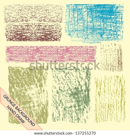 set of grunge background hand draw - stock vector