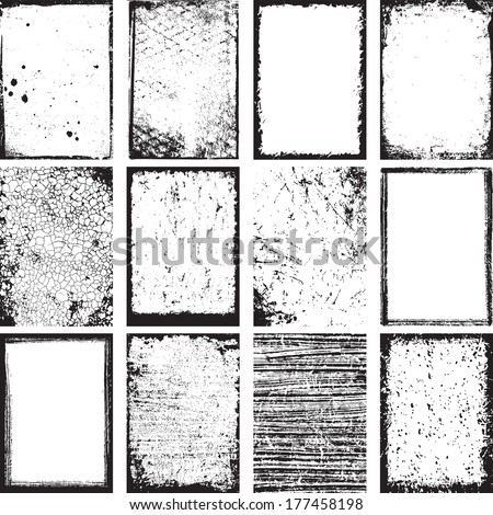 Set Of Grunge Backgrounds And Frames Vector - stock vector
