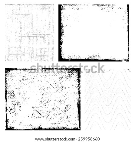 Set of grunge backgrounds and frames. Vector eps10. - stock vector
