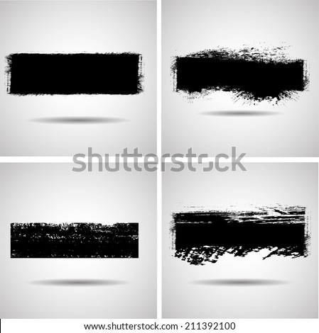 Set of grunge banner. Vector illustration. - stock vector