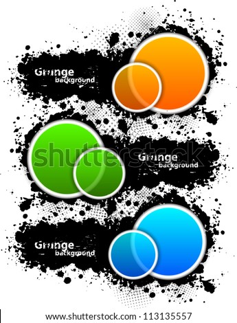 Set of grunge banners with circles